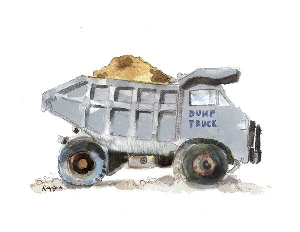 dump truck wall art boy