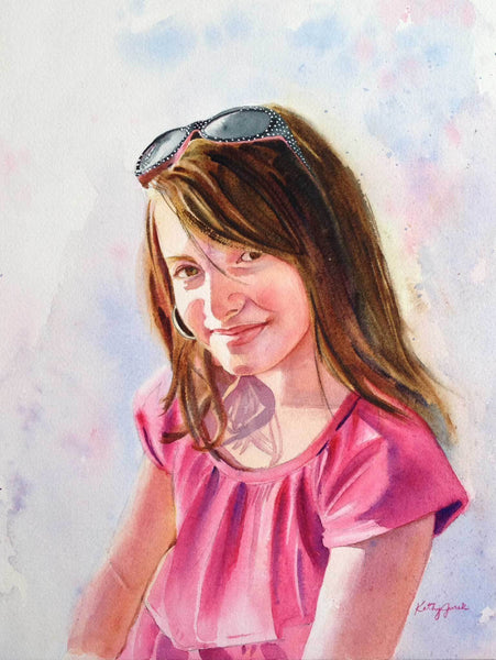 Original Watercolor Portrait on Paper - One Person Head and Shoulders