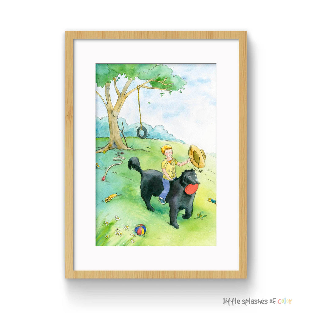 Nursery Wall Art Boy Riding Dog
