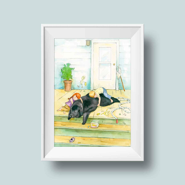 Kids & Newfoundland Dog Print