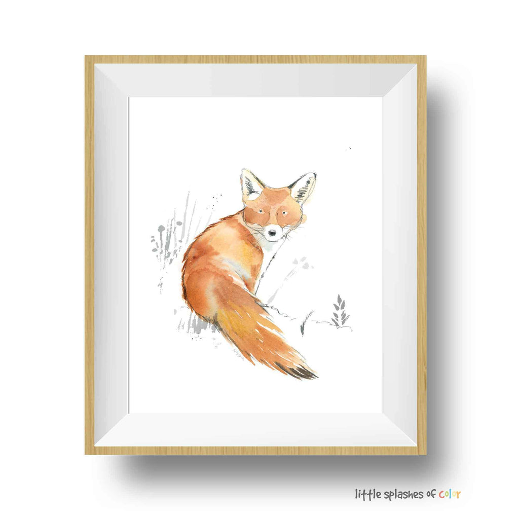 fox watercolor painting