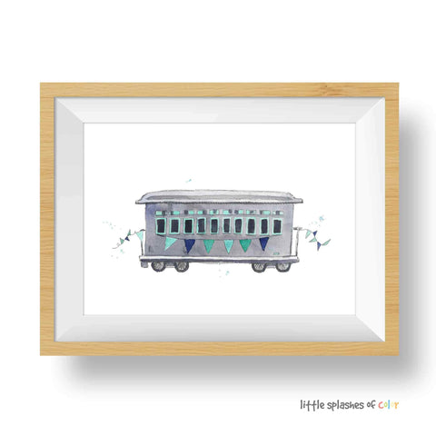 Mint Rail Car Print