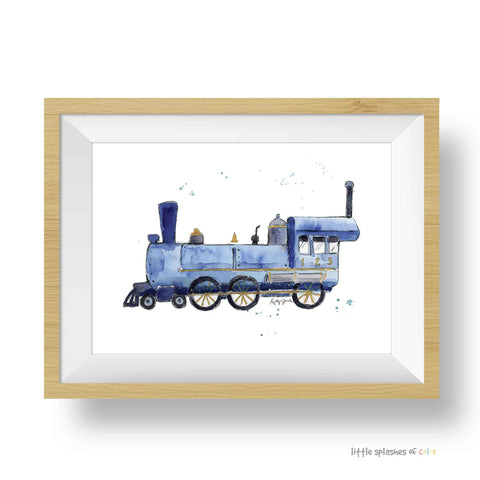 Navy Blue Train Print