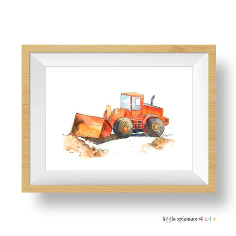 red bulldozer truck print