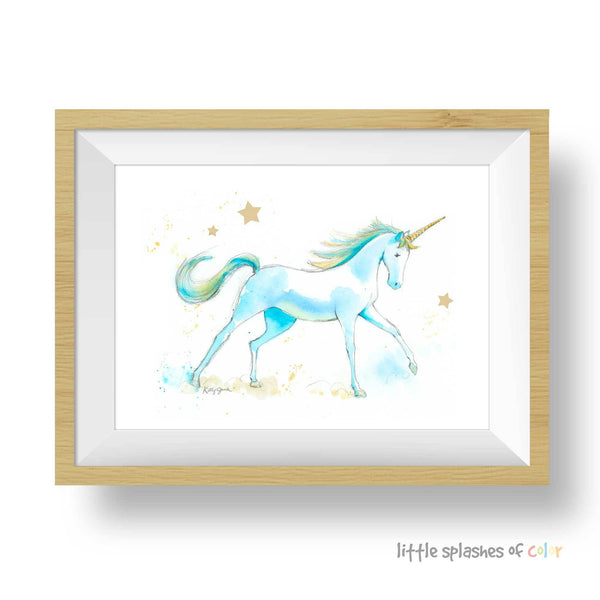 Teal Unicorn Art Print