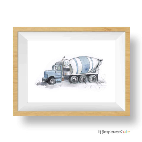 Blue Gray Cement Mixer Truck Print (download)