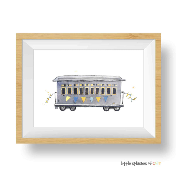 Blue and Yellow Rail Car Printable