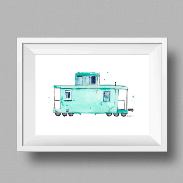 Children's Mint Caboose Print