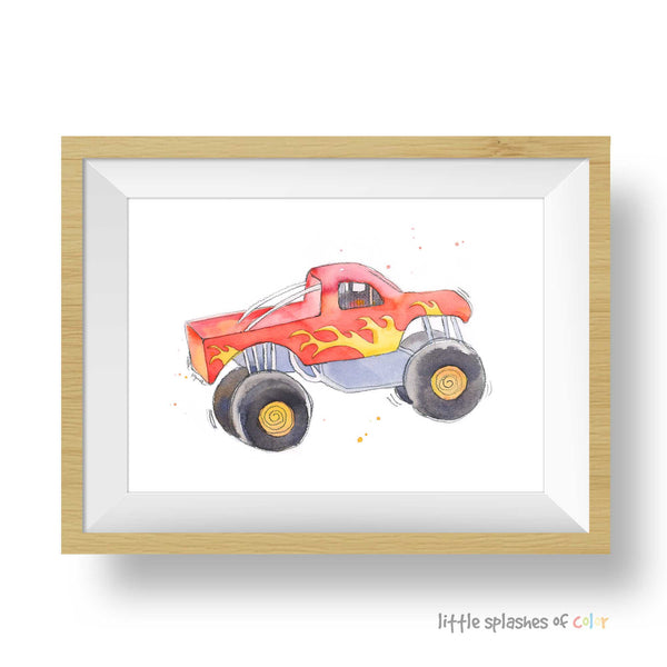 red monster truck print