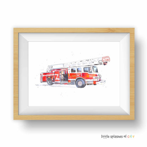fire truck printable wall decor