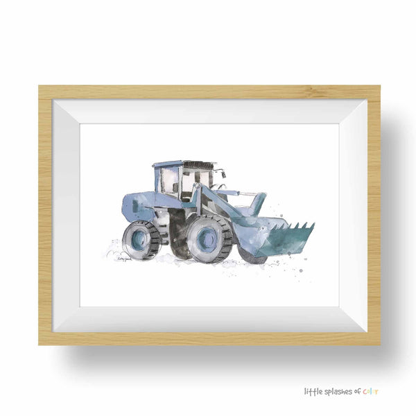 Blue Gray Wheel Front Loader Truck Print