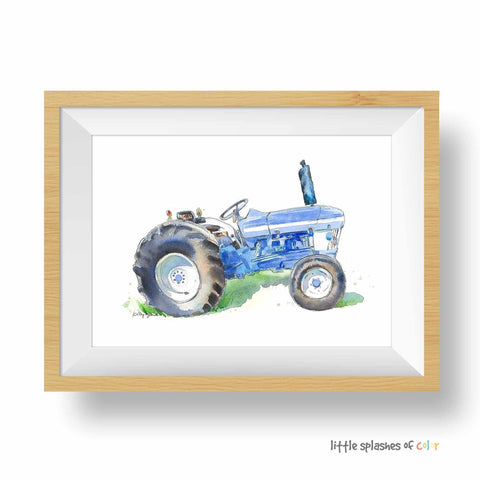 blue Ford tractor watercolor print