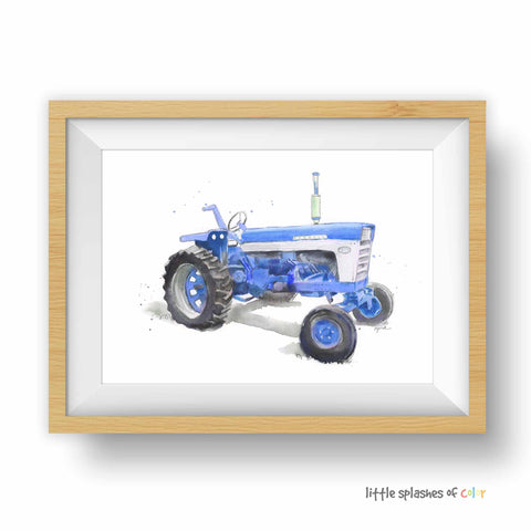 blue tractor print for boys room