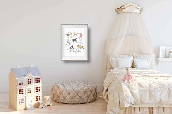 horse watercolor for girls room