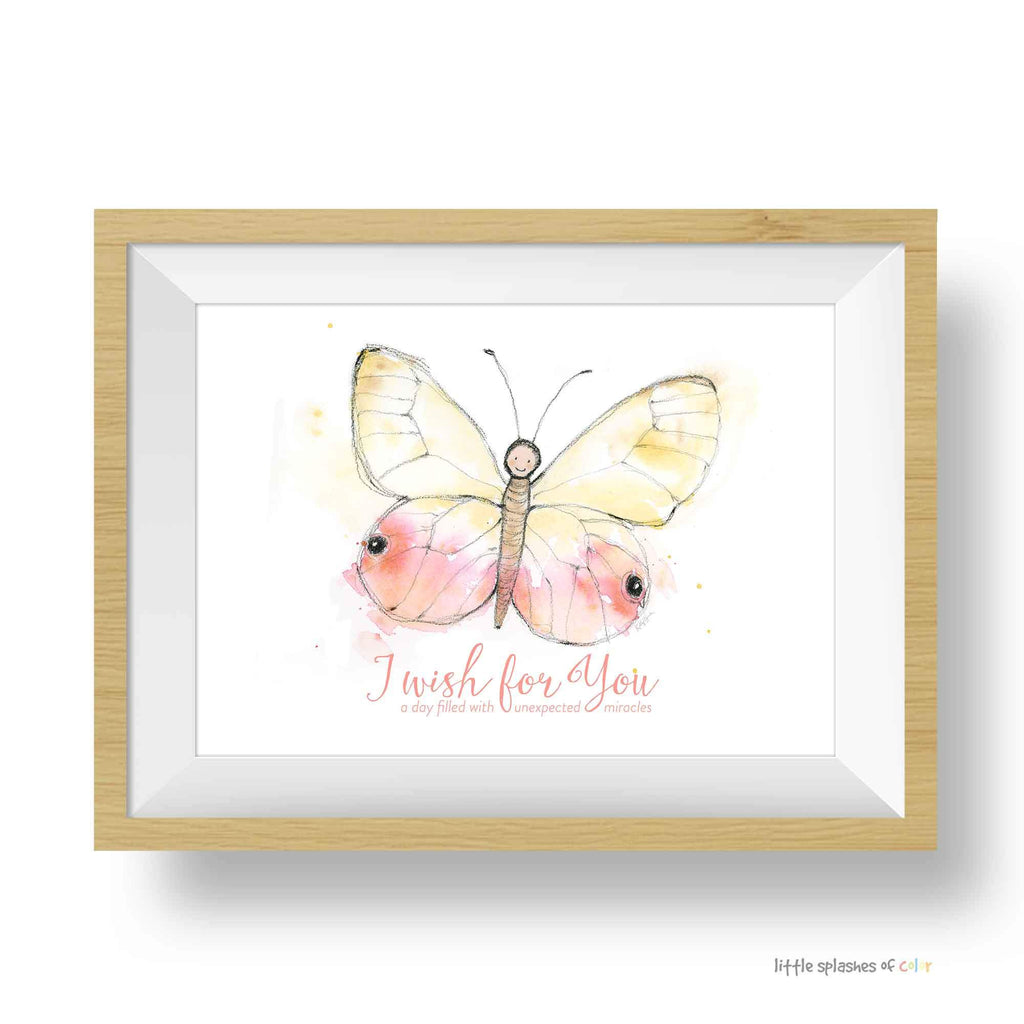 Pink Baby Butterfly Print - I Wish for You (digital download)