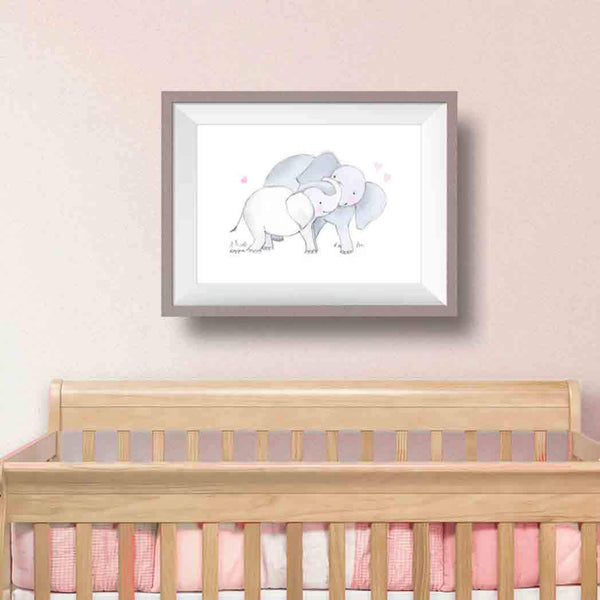Mama and Baby Elephant Art Print