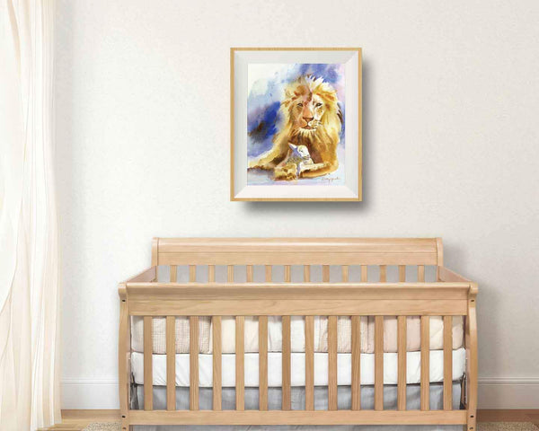 lion and lamb nursery art
