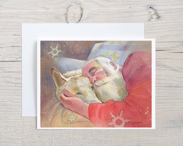 (Wholesale) Set of 10 Assorted Santa Claus Note Cards