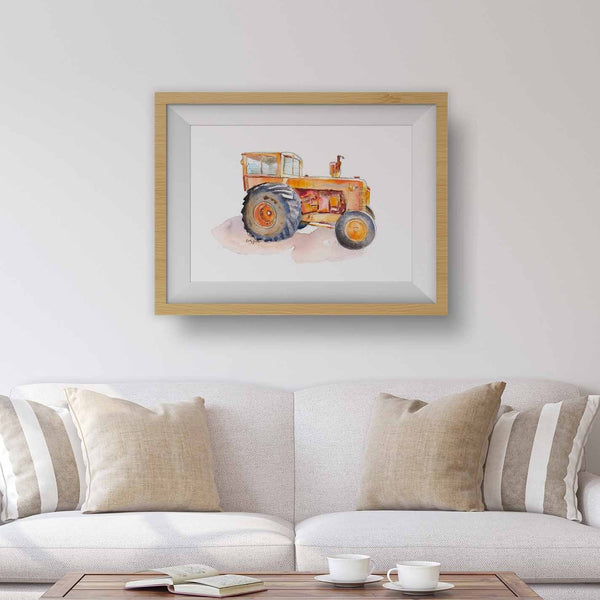 orange tractor wall art print