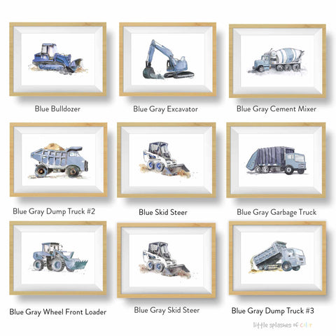 Blue Gray Construction Truck Prints Set