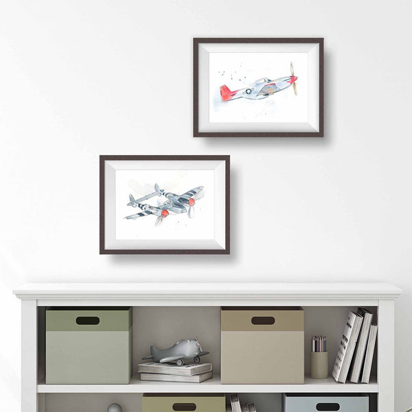 military airplane prints for boys room