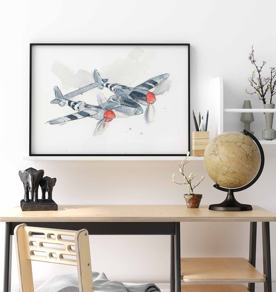 military airplane print for kids room
