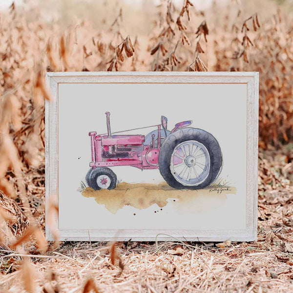 pink tractor wall art for girls room