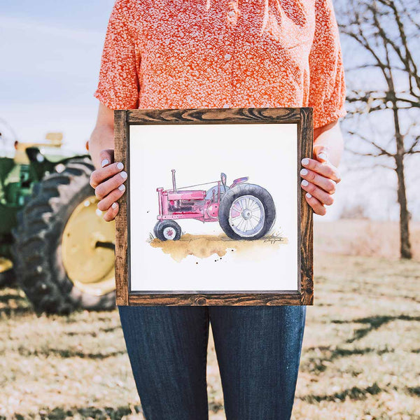 pink tractor print for women