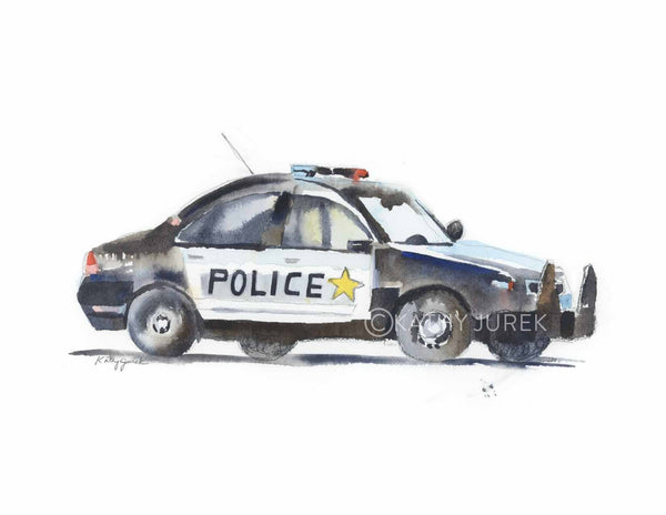 police car art for boys room