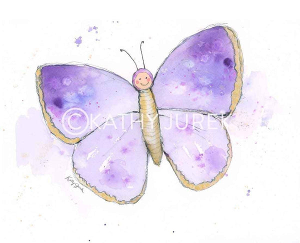 purple nursery art butterfly