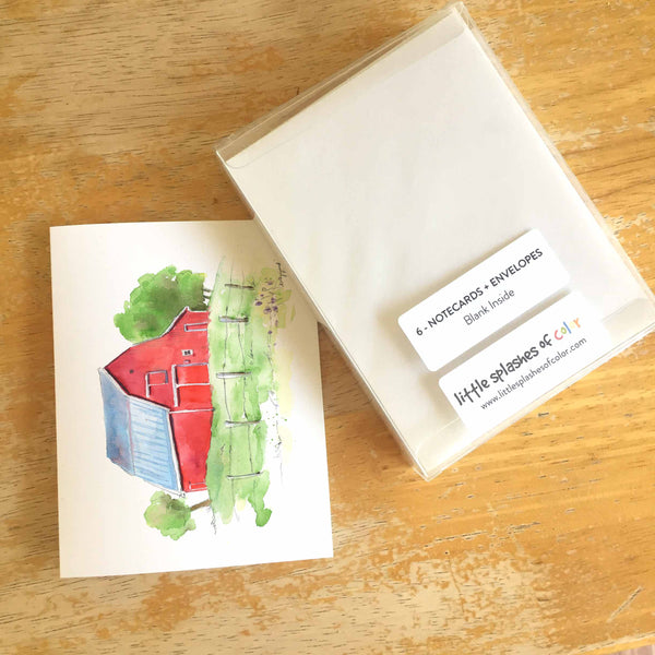 (Wholesale) Red Barn Note Cards