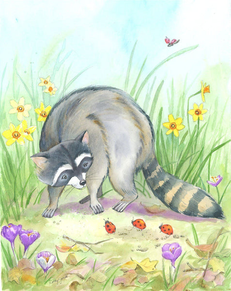 woodland animals raccoon wall art