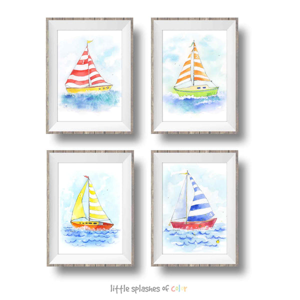 sailboat prints set of 4