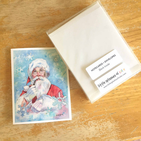 Set of 10 Assorted Santa Lou Note Cards