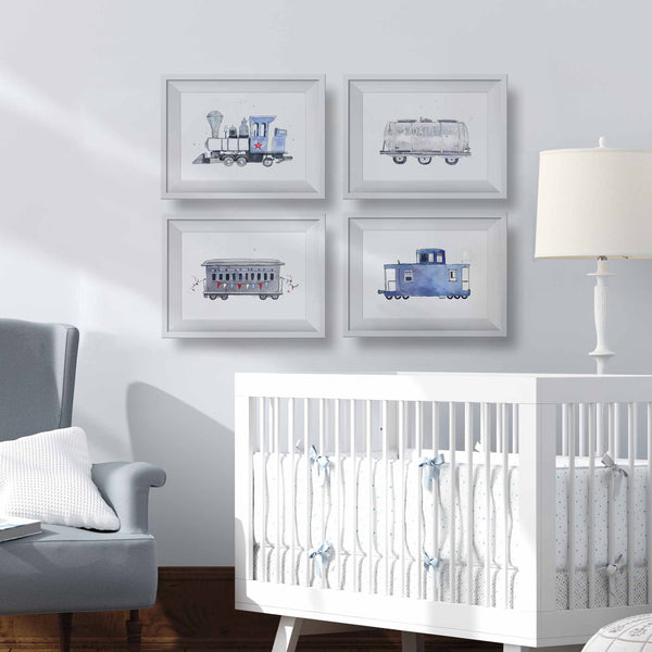 blue and gray train prints for nursery