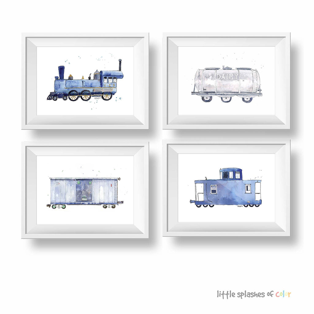set of 4 train printables boys room