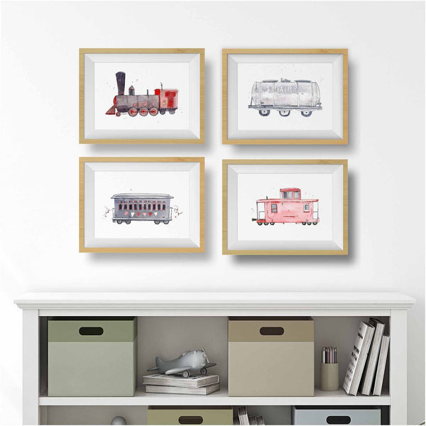 red train prints set for boys room