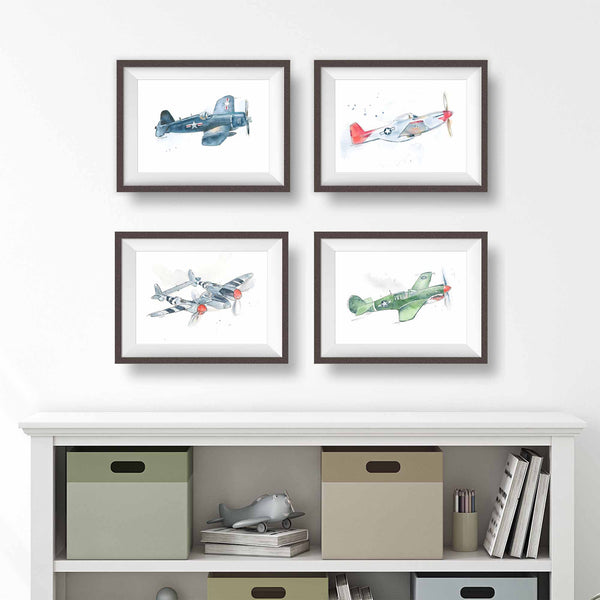 set of wwii airplane prints for boys room