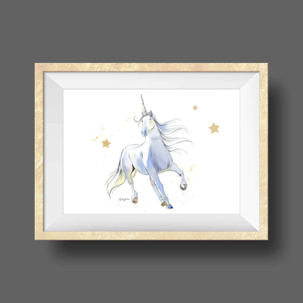 white unicorn wall art