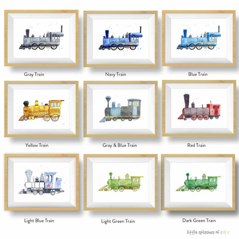steam engine train prints