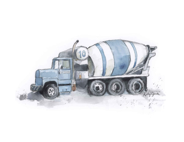 cement mixer truck wall art