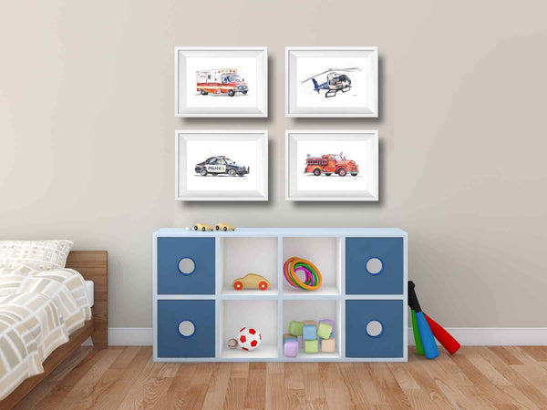 fire truck canvas wall art