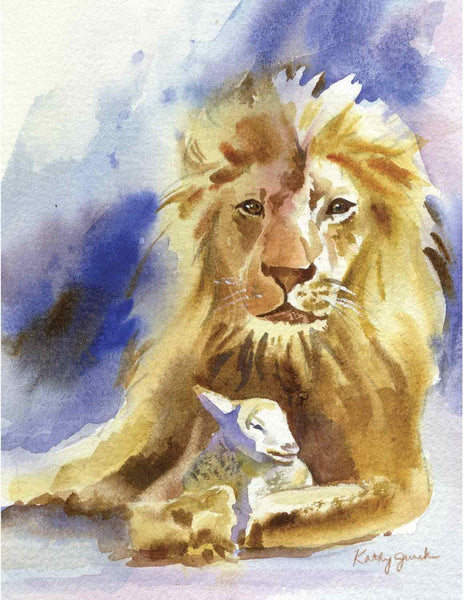 Lion and lamb painting