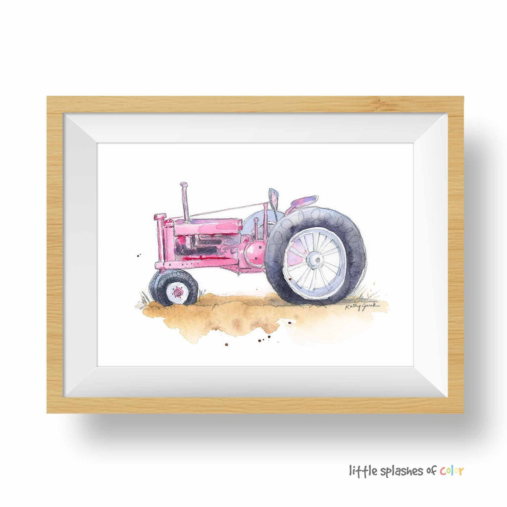 pink tractor print for girls room