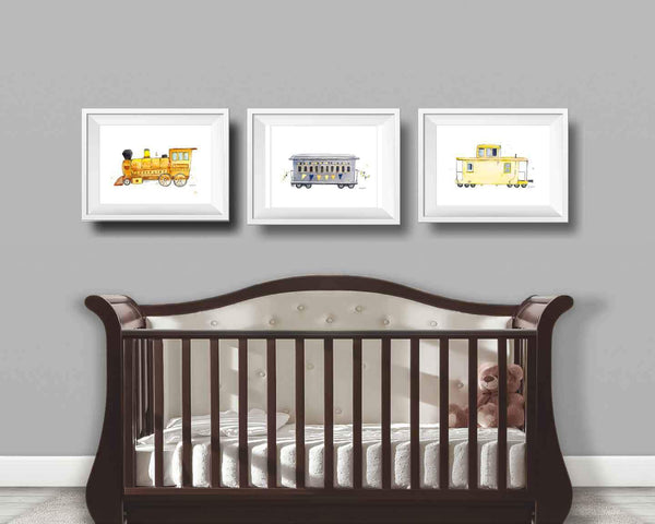 Yellow Caboose Children's Art Print