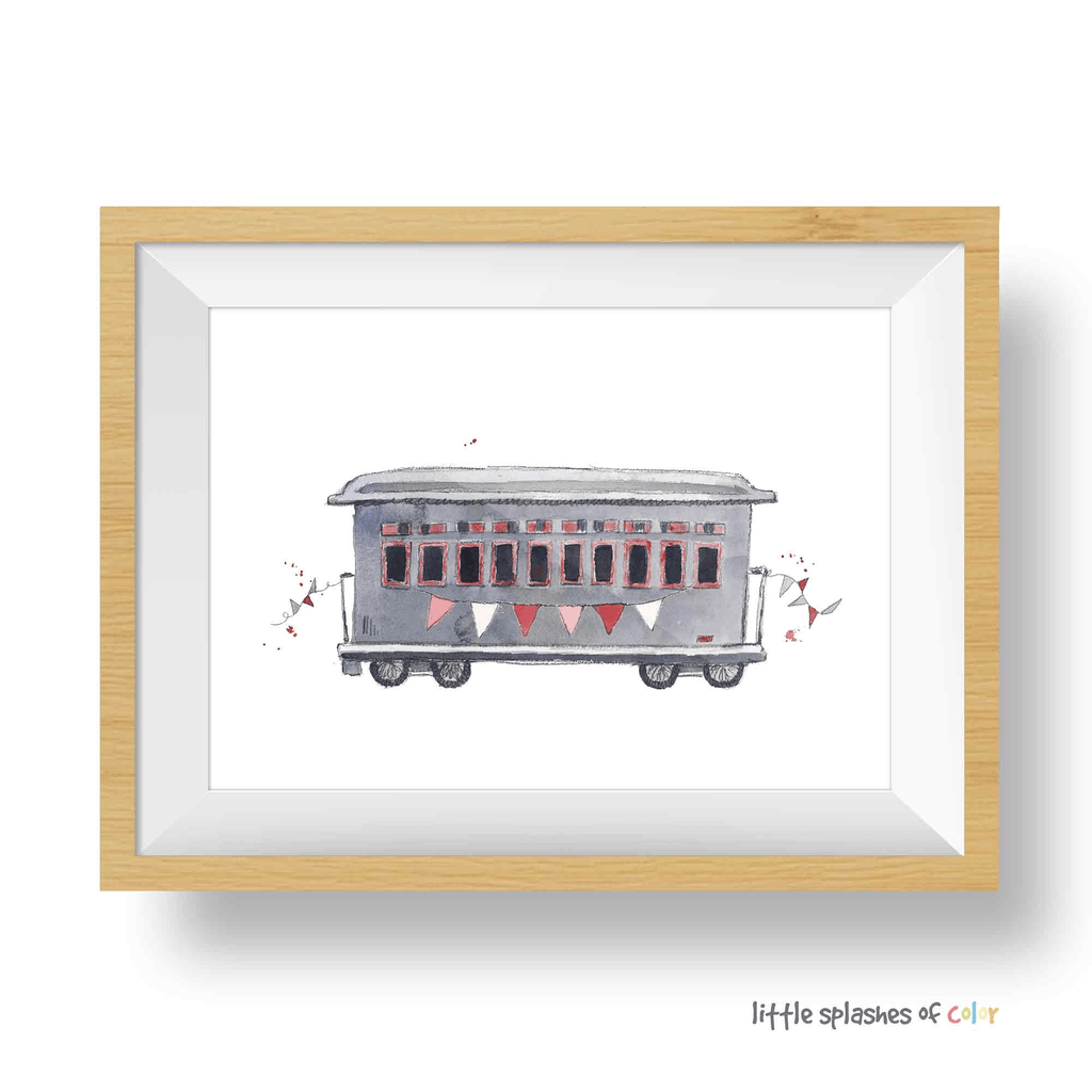 Red Rail Car Print