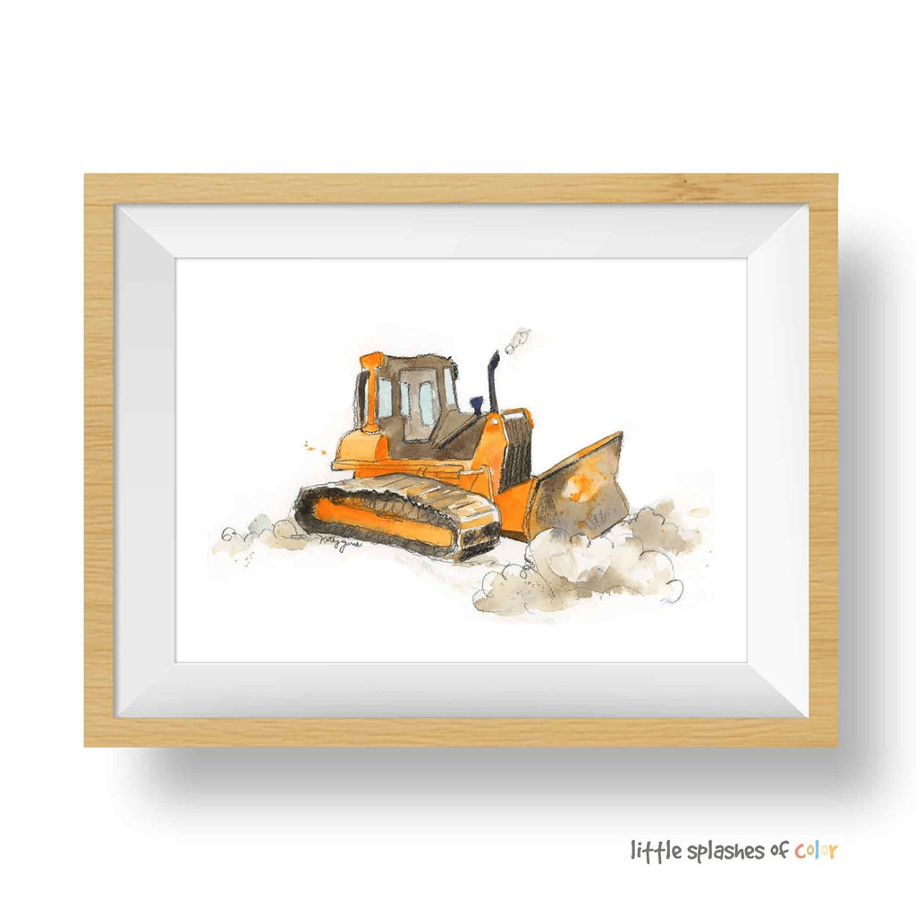 Orange Bulldozer Print