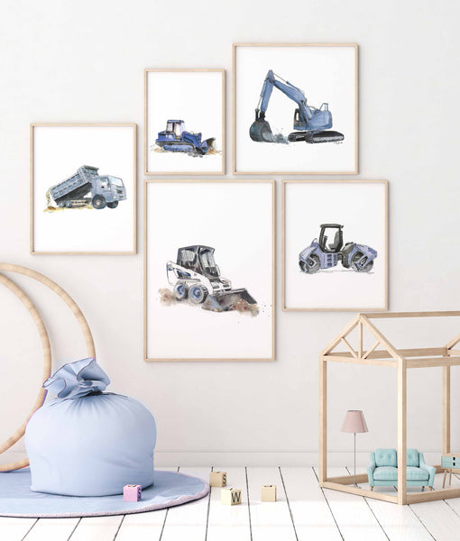 construction prints for boys room