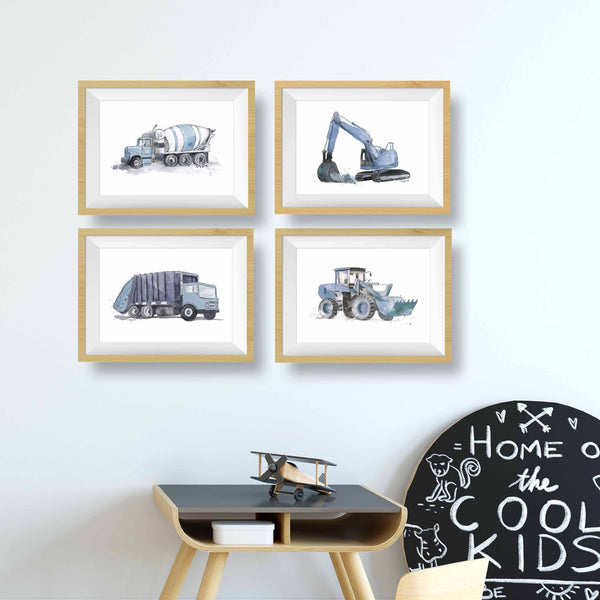 Blue Gray Garbage Truck Print