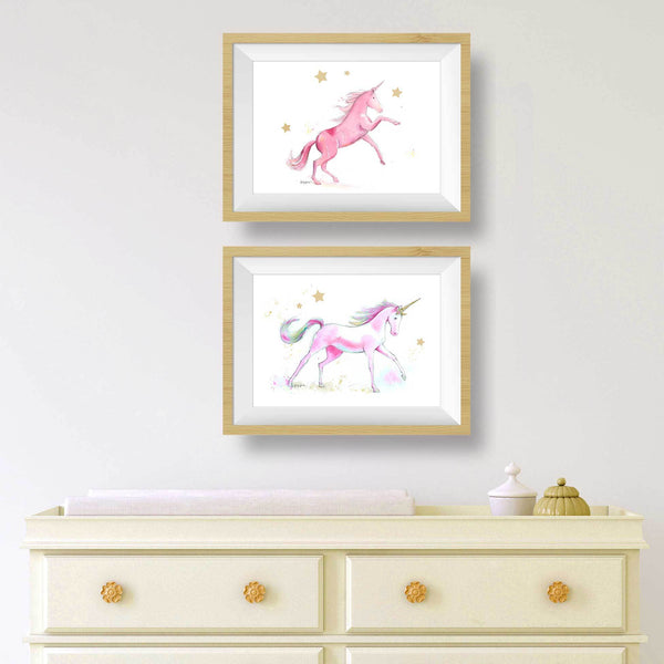 Pink Unicorn Wall Art Prints